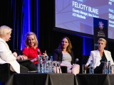Julia Streets - hosting a recording of DiverCity Podcast at the Women in Payments Conference 2019